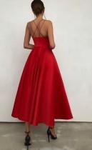 Sommer formelle rote hohe Taille Riemen lange Ballkleid