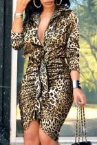 Sommer formelle Langarm Leopard Rüschen Minikleid