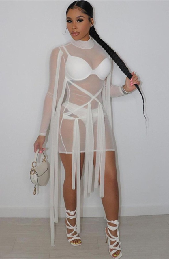 Abito da sera con stringhe a maniche lunghe sexy trasparente in maglia bianca estiva