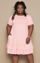 Sommer Plus Size Pink O-Neck Rüschen Hemdkleid