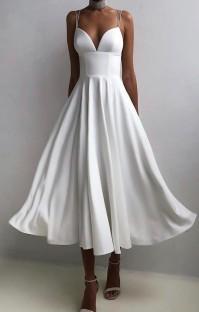 Летнее официальное белое длинное платье для выпускного с бретельками с высокой талией