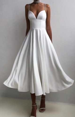 Sommer formale weiße hohe Taille Riemen lange Ballkleid