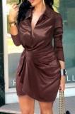 Mini abito estivo formale manica lunga chocorate increspato