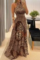 Vestido longo de noite formal com halter de borboleta e leopardo de verão
