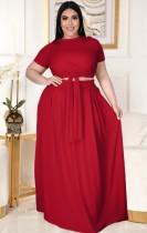 Conjunto de falda larga y top corto rojo de verano de talla grande