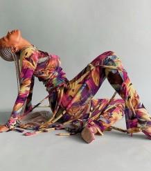 Летний принт из двух струн, укороченный топ и брюки, костюм для вечеринки