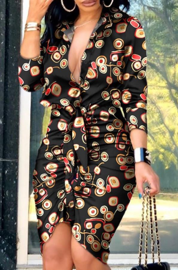 Mini abito increspato stampa manica lunga estiva formale