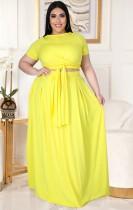 Conjunto de falda larga y top corto amarillo de verano de talla grande