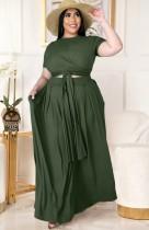 Conjunto de falda larga y top corto verde de verano de talla grande