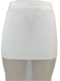 Summer White Sexy Halter Crop Top e Midi Skirt Set