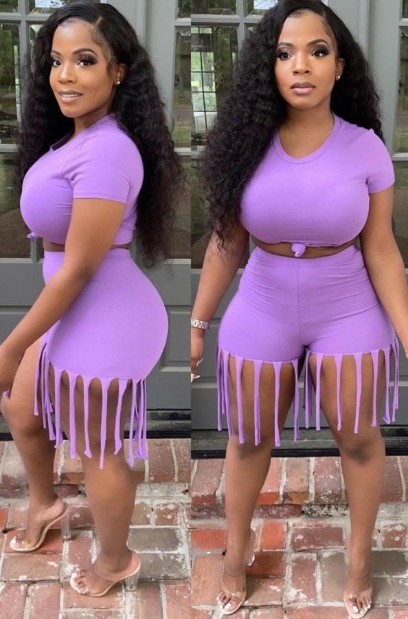 Top corto estivo viola sexy e pantaloncini con frange 2 pezzi coordinati