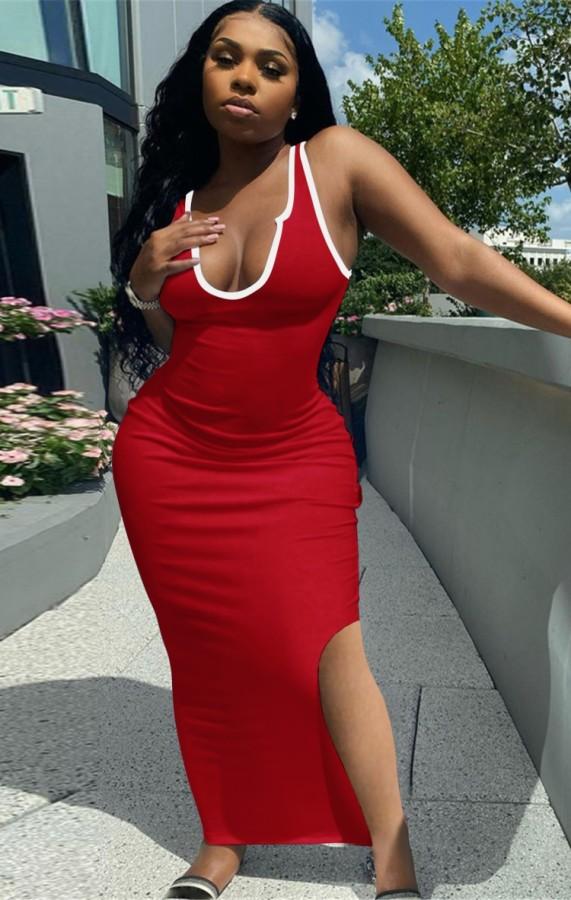 Vestido longo de verão casual vermelho com fenda lateral