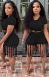 Top corto estivo nero sexy e pantaloncini con frange 2 pezzi coordinati