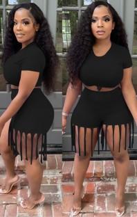 Zomer zwarte sexy crop top en franje shorts 2-delige bijpassende set