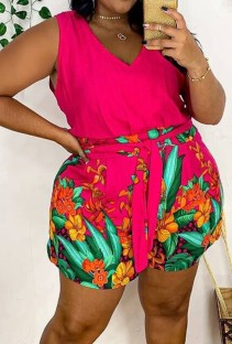 Summer Plus Size Pink Floral V-Neck Casual Rompers