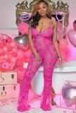 Летний розовый кружевной прозрачный сексуальный комбинезон на бретелях