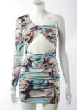 Летнее сексуальное клубное платье на одно плечо с вырезом и принтом