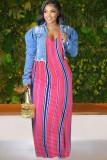 Vestido maxi longo de verão plus size com listras e alças