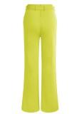Pantaloni a vita alta verdi casual estivi con cintura abbinata