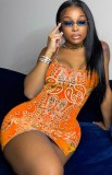 Vestito da mini club con cinturino arancione con stampa retrò estiva