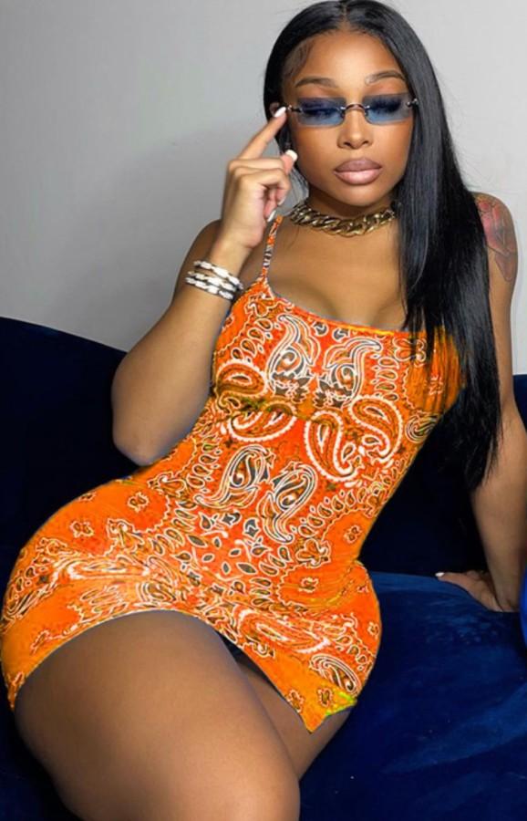 Летнее клубное мини-платье с оранжевыми бретелями с принтом в стиле ретро