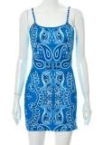 Yaz Retro Baskı Mavi Kayış Mini Kulüp Elbise