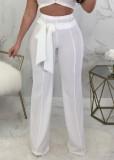 Pantaloni a vita alta bianchi casual estivi con cintura abbinata
