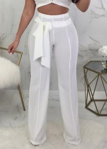Летние повседневные белые брюки с высокой талией и подходящим поясом