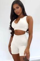 Conjunto de chaleco corto blanco sexy de verano y pantalones cortos de cintura alta