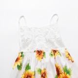 Летнее длинное платье с белыми лямками и цветком солнца