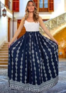 夏のレトロプリントブルーストラップロングドレス