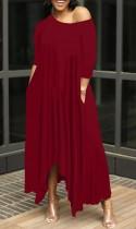 Maxi abito lungo irregolare casual rosso estivo