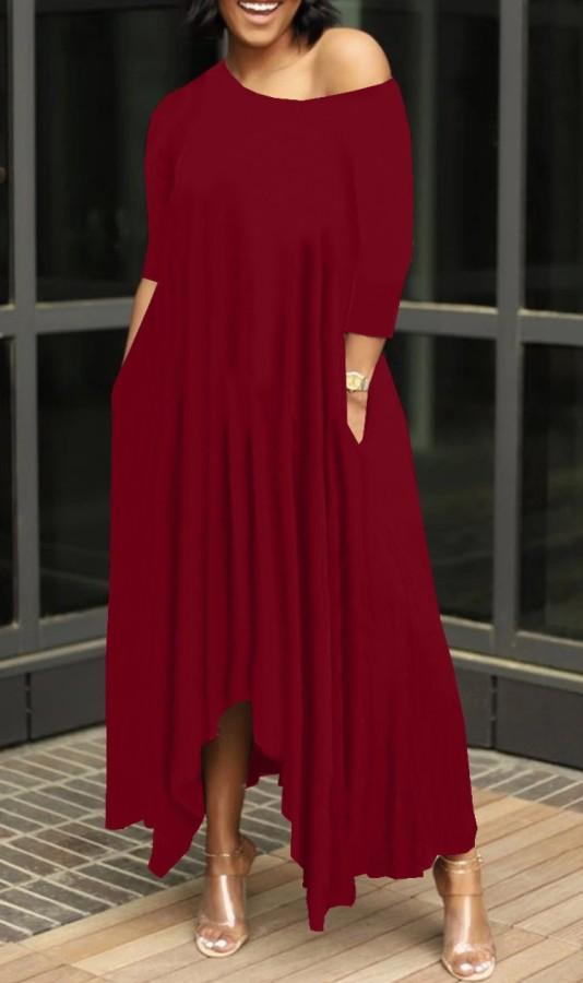 Yaz Kırmızı Gündelik Düzensiz Uzun Maxi Elbise