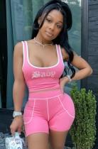 Sommersport Print Pink Short Weste und High Waist Biker Shorts Set