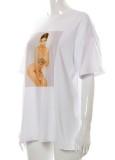 Yaz Desenli Beyaz O-Boyun Normal Gömlek