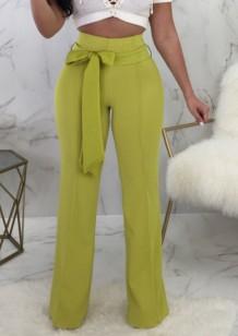 Летние повседневные зеленые брюки с высокой талией и подходящим поясом