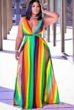 Maxi abito lungo arcobaleno sexy senza maniche con spacco laterale profondo taglie forti estate