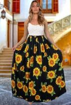 Sommersonnenblume mit schwarzem Riemen langes Sommerkleid