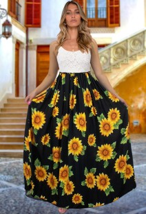 夏の太陽の花の黒いストラップロングドレス
