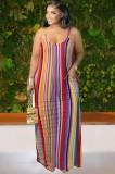 Летнее длинное платье макси с полосками больших размеров на бретелях