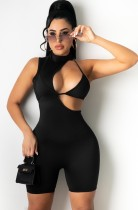 Sommer Sexy Black Hollow Out Ärmellose Bodycon Strampler