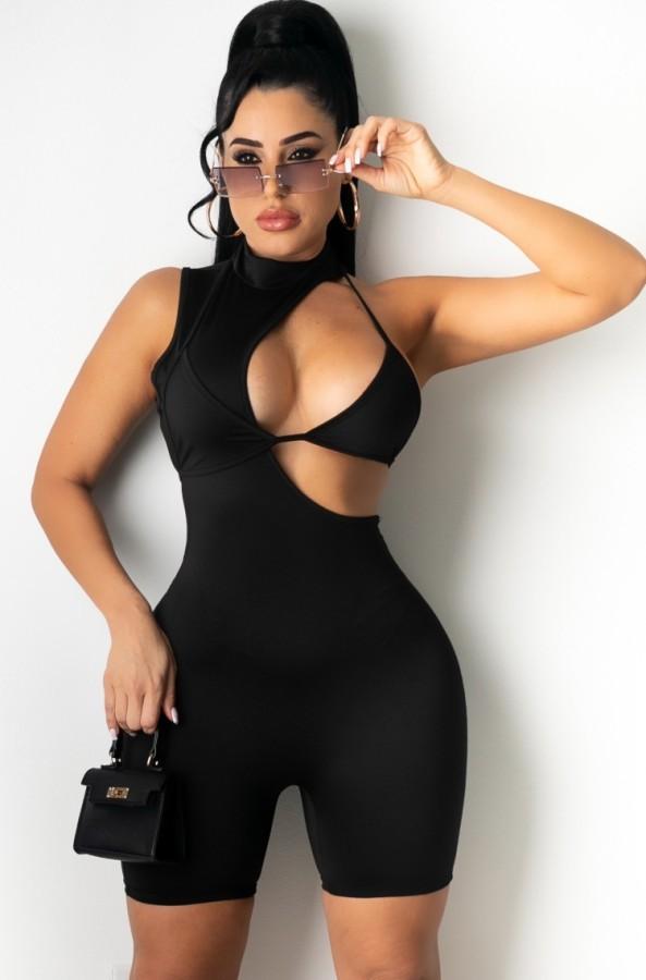 Летние сексуальные черные облегающие комбинезоны с открытыми рукавами без рукавов