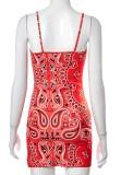 Vestito da mini club con cinturino rosso con stampa retrò estiva