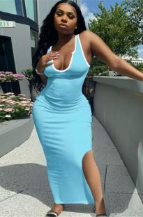 サマーカジュアルブルーサイドスリットロングタンクドレス