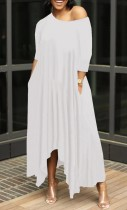 Летнее белое повседневное длинное платье-макси нестандартной формы