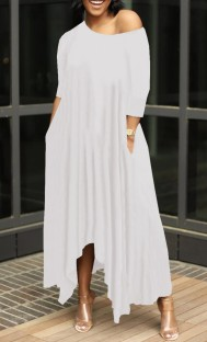 Summer White Casual Irregular Long Maxi Dress