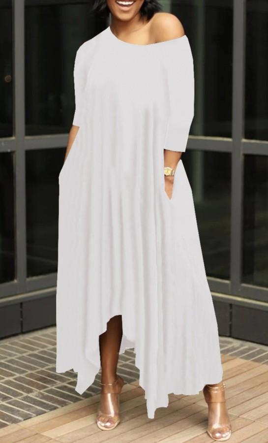 Maxi abito lungo irregolare casual bianco estivo