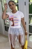 Camicia bianca con frange O-Collo con stampa estiva