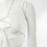 Top corto senza maniche con lacci sexy bianco estivo