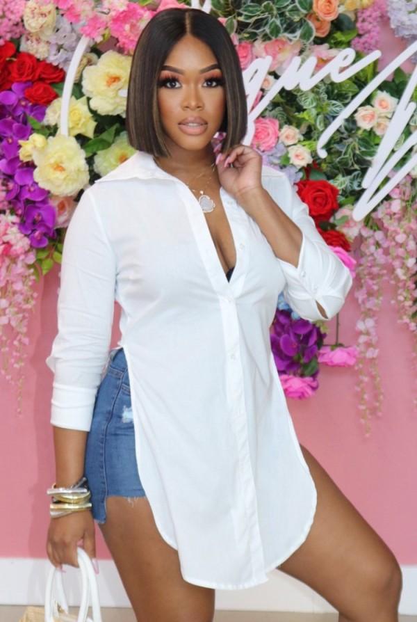 Blusa longa de verão branca com fenda lateral